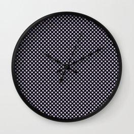Black and Pastel Lilac Polka Dots Wall Clock