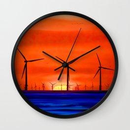 Windmills in the Sea Wall Clock
