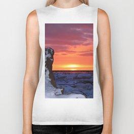 Golden Sunset on Sea and  Snow Biker Tank