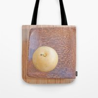 asian Tote Bags featuring Asian Pear by Lyssia Merrifield