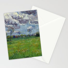 Meadow With Flowers Under a Stormy Sky Stationery Cards