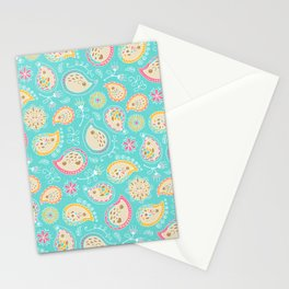 Hedgehog Paisley_Colors and Light blue Stationery Cards
