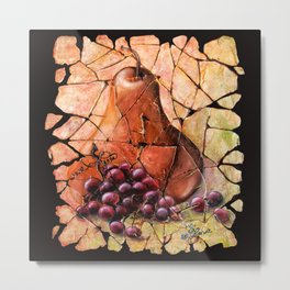 Pear and Grapes Fresco Metal Print