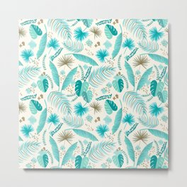 Turquoise Tropical Leaves Pattern Metal Print