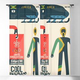 Cool runnings, Jamaica bobsled team movie, olympic games poster, Calgary 1988, Winter Olympics, John Candy Blackout Curtain