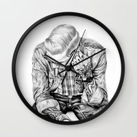 tom selleck Wall Clocks featuring tom by Anna Gibson