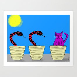 Purple Cat doesn't know how this happened Art Print
