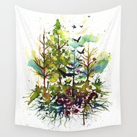 jungle Wall Tapestries featuring Jungle by Sah Matsui