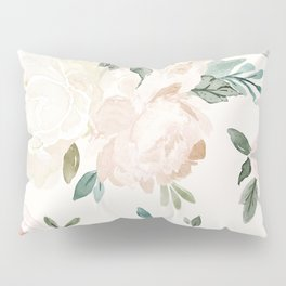 Vintage Blush Floral - softest pastel Pillow Sham