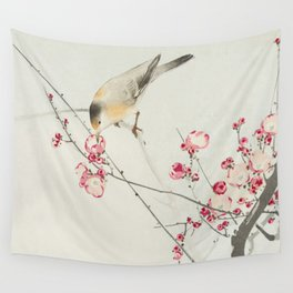 Songbird on blossom branch Wall Tapestry
