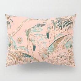 Flamingos in linocut look Pillow Sham