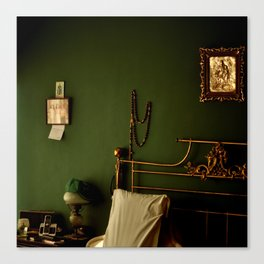 Green and Gold Bedroom Canvas Print