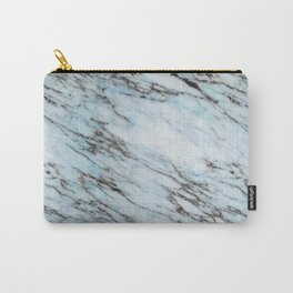 Aqua Black and White Marble Crackle Carry-All Pouch