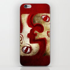 Red Digital Engraving Twin Faces iPhone & iPod Skin