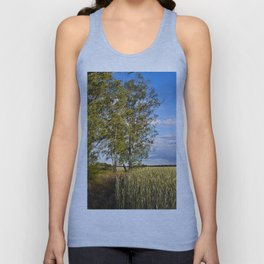 Corn Field with Birch Trees Unisex Tank Top