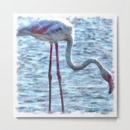 Balance of Nature Flamingo Watercolor Metal Print