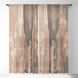 Monochrome Cloudy Lakescape  Sheer Curtain