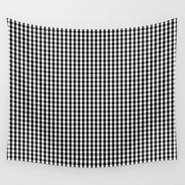 Classic Small Black & White Gingham Check Pattern Wall Tapestry