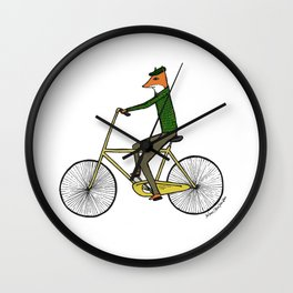 Mr. Fox on a Bicycle Wall Clock