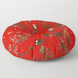 Monkey World Red Floor Pillow