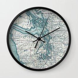 Puget Sound Map Wall Clock