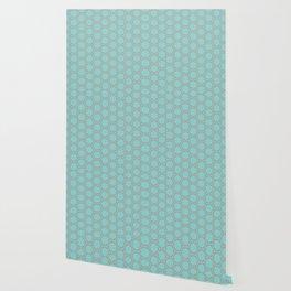 Hexagonal Dreams - Grey & Turquoise Wallpaper