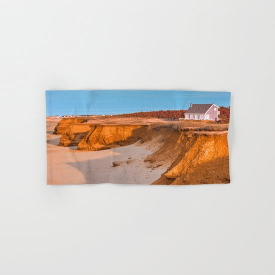 Thunder Cove Beach Cliffs - Golden Pastel Hour Hand & Bath Towel