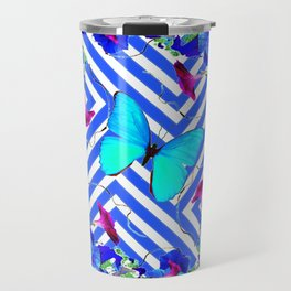 Turquoise Blue Butterflies Morning Glories Abstract Travel Mug