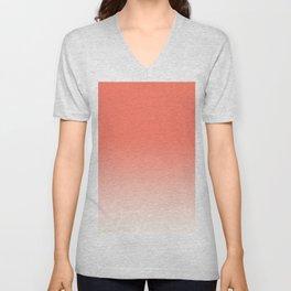 Coral Ombre, Dip Dye, Boho Unisex V-Neck