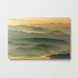 Foggy Mountain Layers at Sunset Rural / Rustic Landscape Photograph Metal Print
