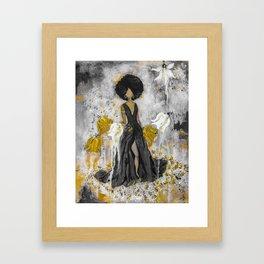 Dear Queen Black and Gold Framed Art Print