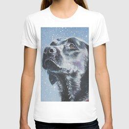 Black Lab LABRADOR RETRIEVER dog portrait painting by L.A.Shepard fine art T-shirt