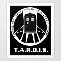 agents of shield Art Prints featuring Agents of TARDIS black and white Agents of Shield, Doctor Who mash up by Whimsy and Nonsense