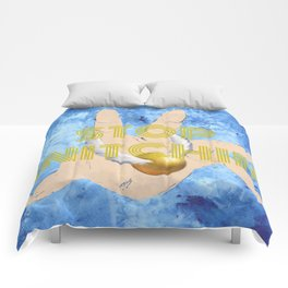 """""""Stop Golden Snitchin'"""" Print Blue/Gold 1/2 Comforters"""