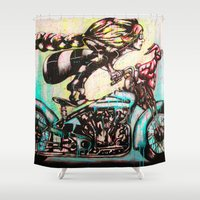 moto Shower Curtains featuring Moto D by Mo Baretta
