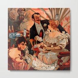 "Alphonse Mucha ""Biscuits Champagne Lefèvre Utile"" Metal Print"