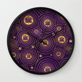 Gold and deep purple Lotus FLower Wall Clock