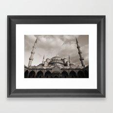 Blue Mosque in Grey Framed Art Print