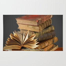 DECORATIVE  ANTIQUE LEDGERS, LIBRARY BOOKS art Rug