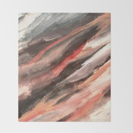 Moving Mountains: an abstract mixed media piece in contrasting pinks, purples, blues, and whites Throw Blanket
