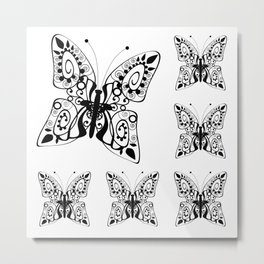 Butterfly black fishnet on a white background Metal Print