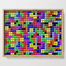 Tetris Inspired Retro Gaming Colourful Squares Serving Tray