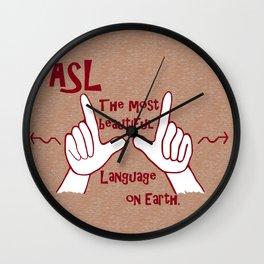 ASL Most Beautiful Language Wall Clock