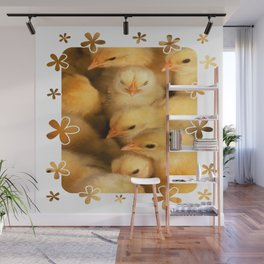 Clutch of Yellow Fluffy Chicks With Decorative Border Wall Mural