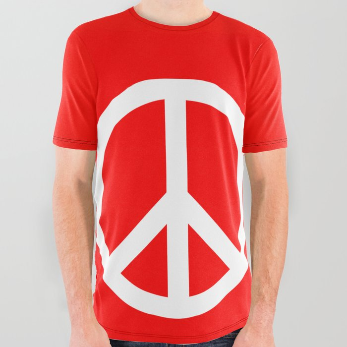 Sketch Peace Sign All Over Graphic Tee