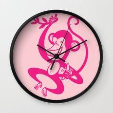 Pink Monkey Wall Clock