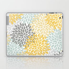 Floral Pattern, Yellow, Pale, Aqua, Blue and Gray Laptop & iPad Skin
