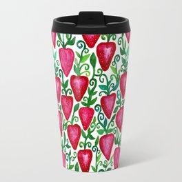 Whimsical Strawberries Travel Mug