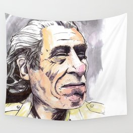 Charles Bukowski portrait in watercolor and ballpoint by McHank Wall Tapestry