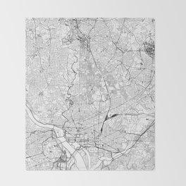 Washington D.C. White Map Throw Blanket